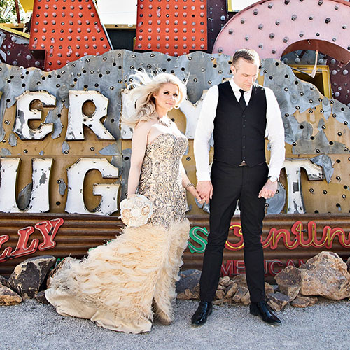 Las Vegas Elopement wedding at the Neon Boneyard.